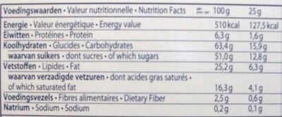 Belgian Chocolate Thins - Informations nutritionnelles - fr