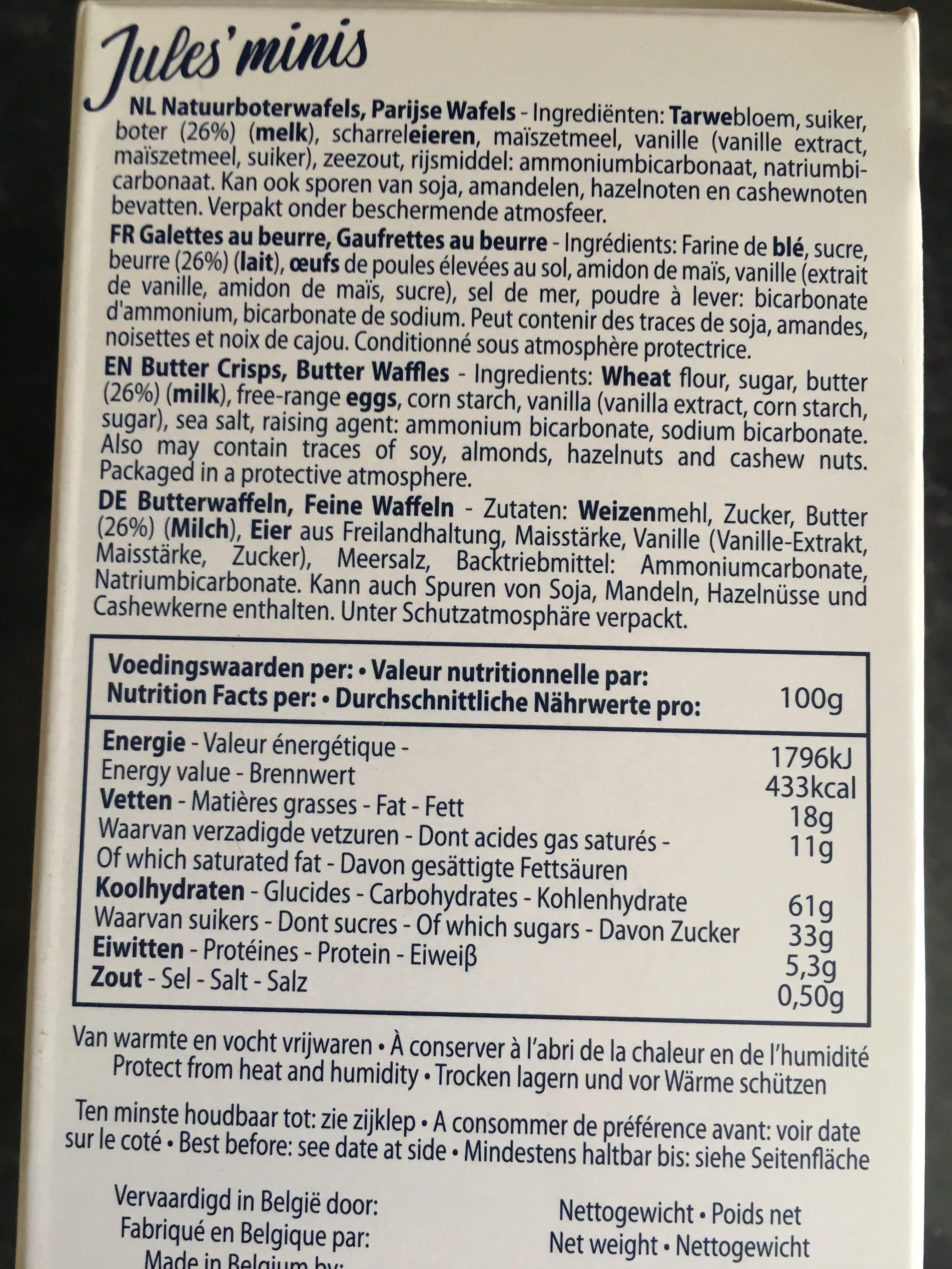 Jules Destrooper Jules'minis - Ingrediënten