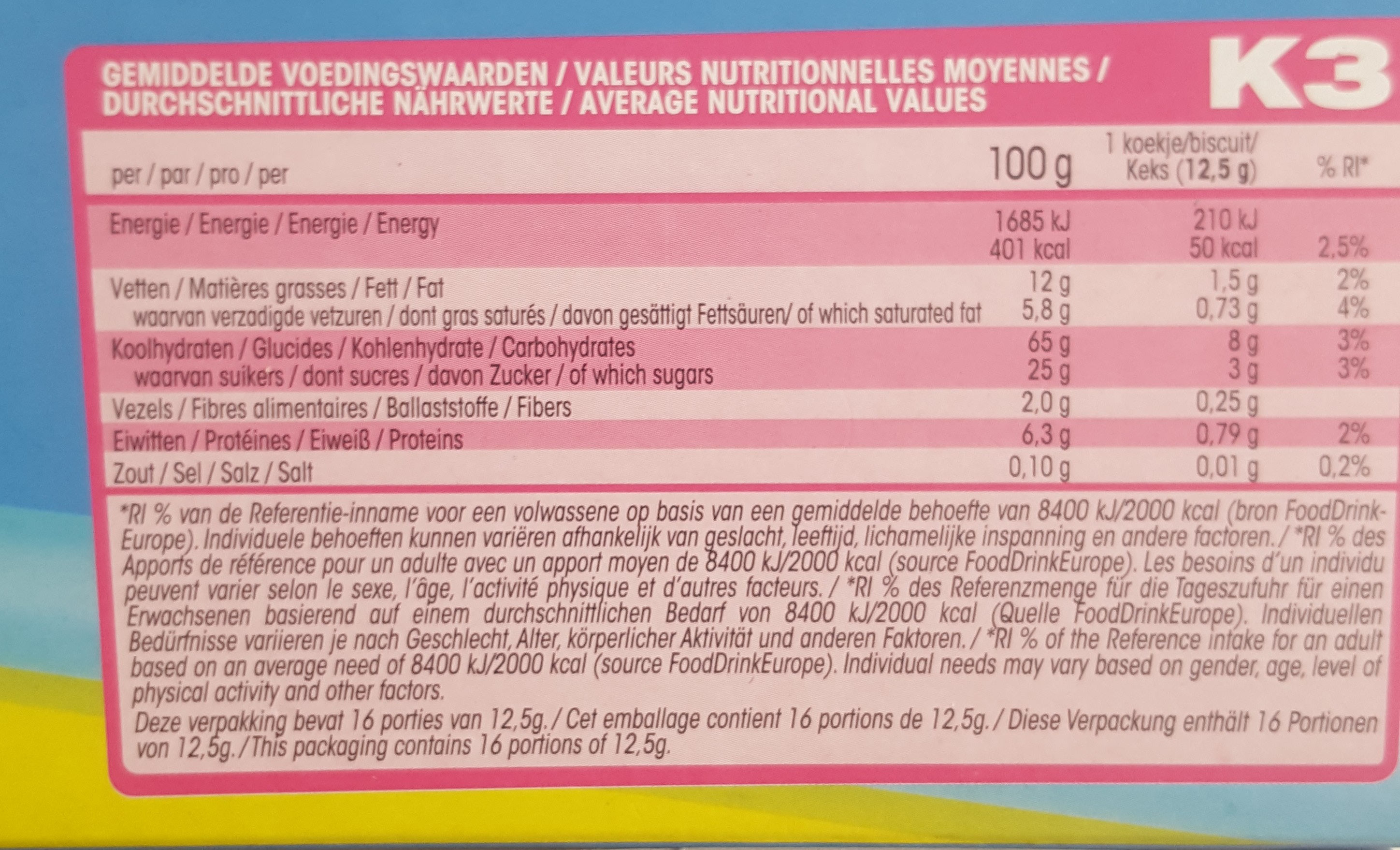 K3 KOEKEN - Ingredients - fr