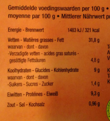 Mo smikey - Nutrition facts