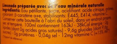 Limonade Ordal orange - Ingrediënten