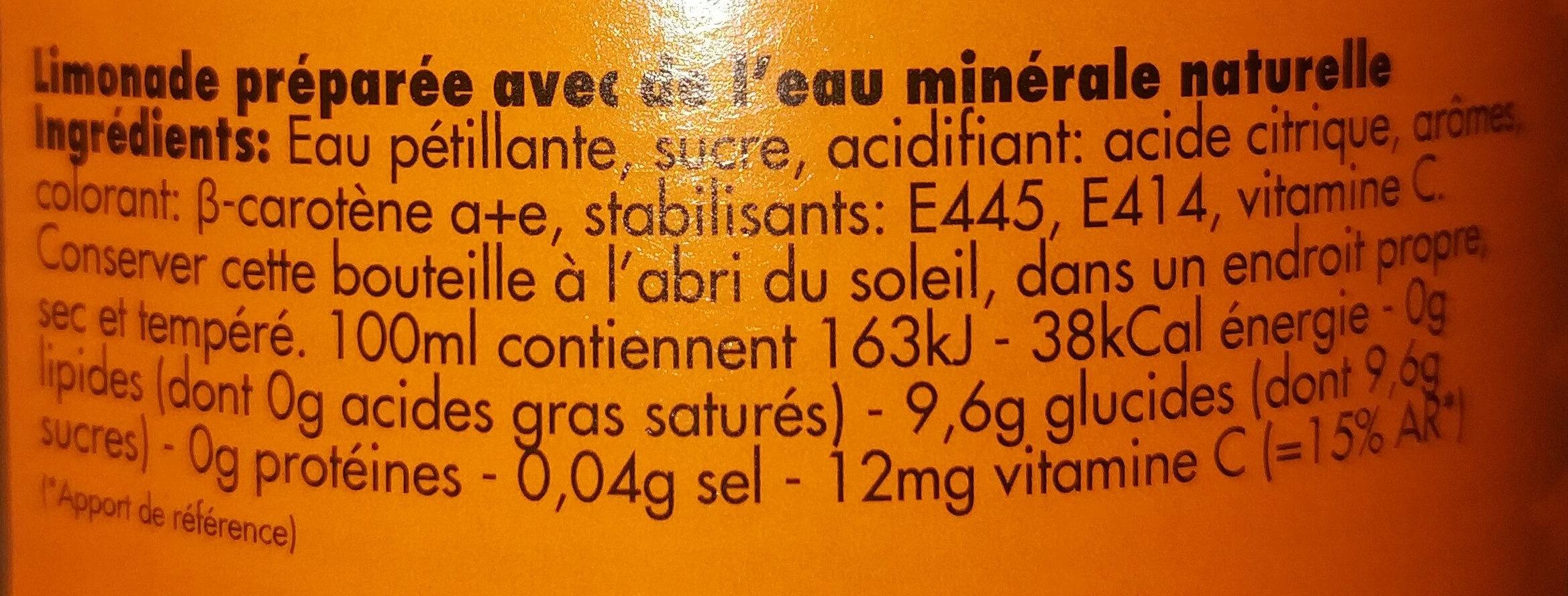 Limonade Ordal orange - Ingrediënten - fr