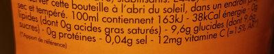 Limonade Ordal orange - Voedingswaarden