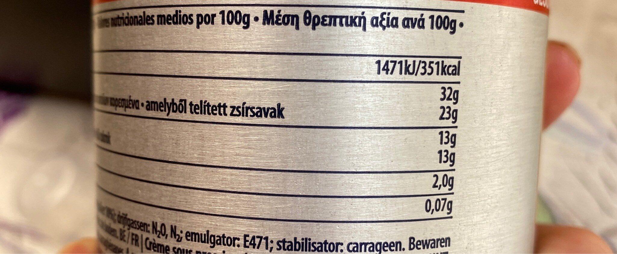 Crème sucrée - Nutrition facts - nl