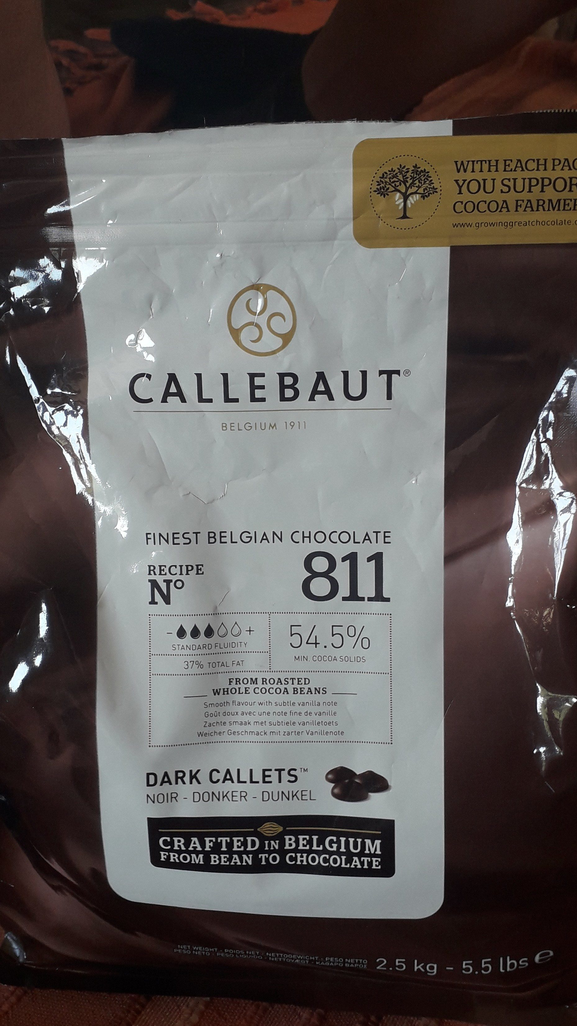 Callebaut Select Dark 54.5 Percent Chocolate 811 Callets - Product