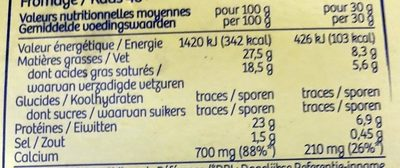 Maredsous Fromage Tradition - Voedingswaarden - fr