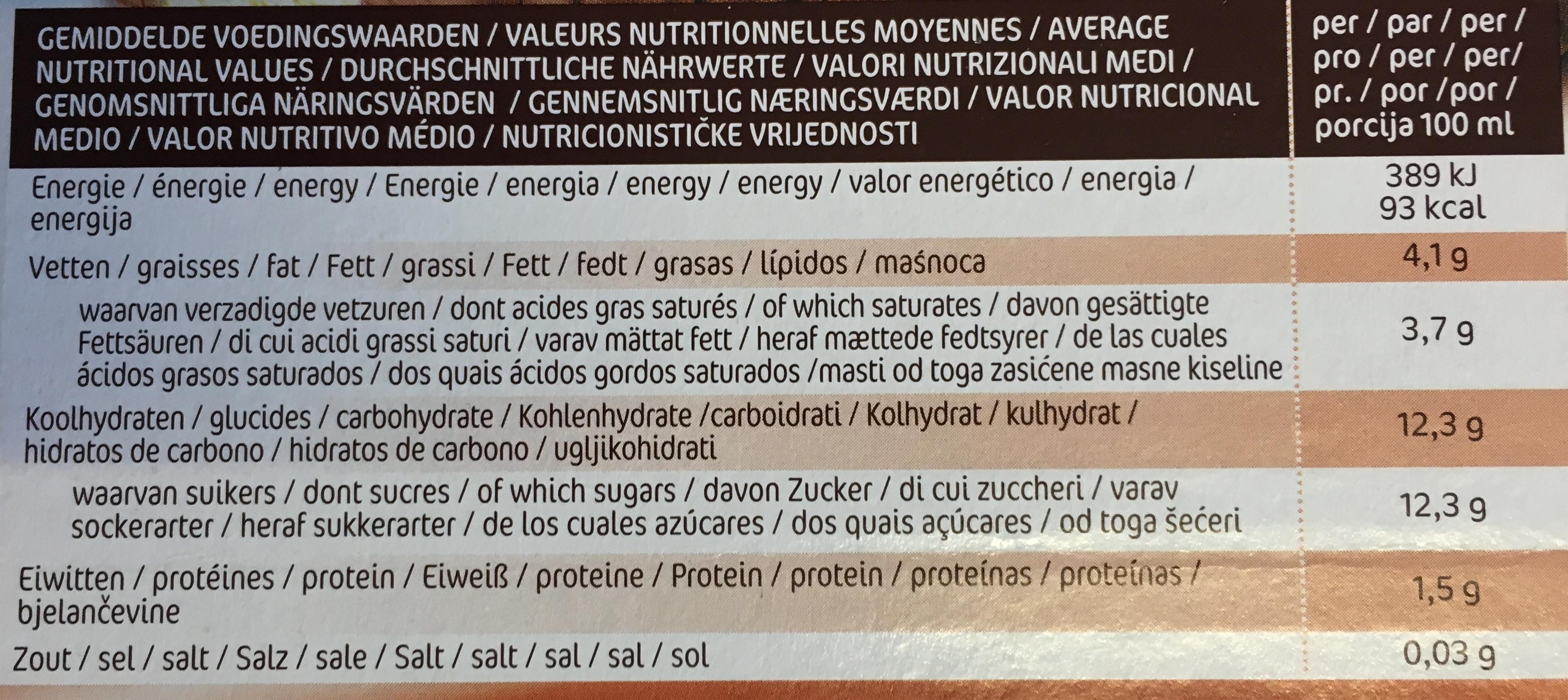 Mimosa Vanille - Choc - Nutrition facts