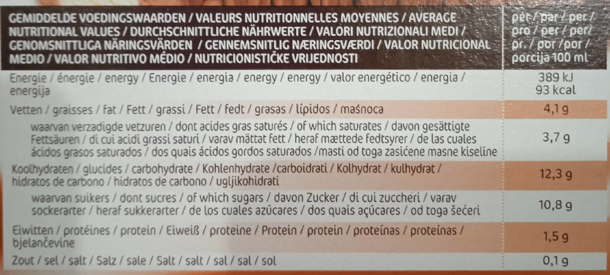 Mimosa Vanille - Choc - Nutrition facts - fr