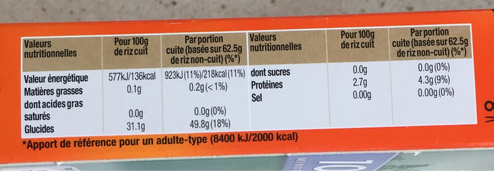Uncle Ben's Riz Jasmin naturellement parfumé 500 g - Nutrition facts