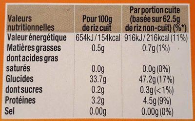 Riz Long Grain 10 minutes - Nutrition facts - fr