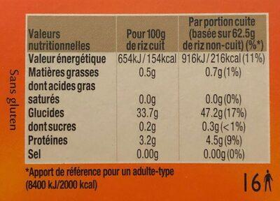 Riz cuisson rapide Uncle Ben's 1 kg - Informations nutritionnelles - fr