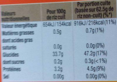 Riz Long Grain En Sachet Cuisson - Informations nutritionnelles - fr
