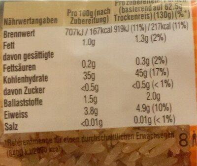 Natur Reis - Informations nutritionnelles - de