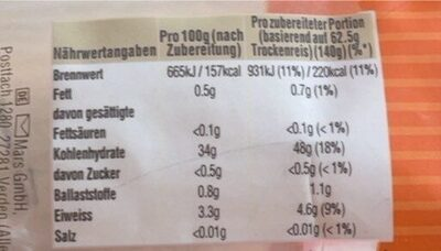 Original-Langkorn-Reis - Informations nutritionnelles - de
