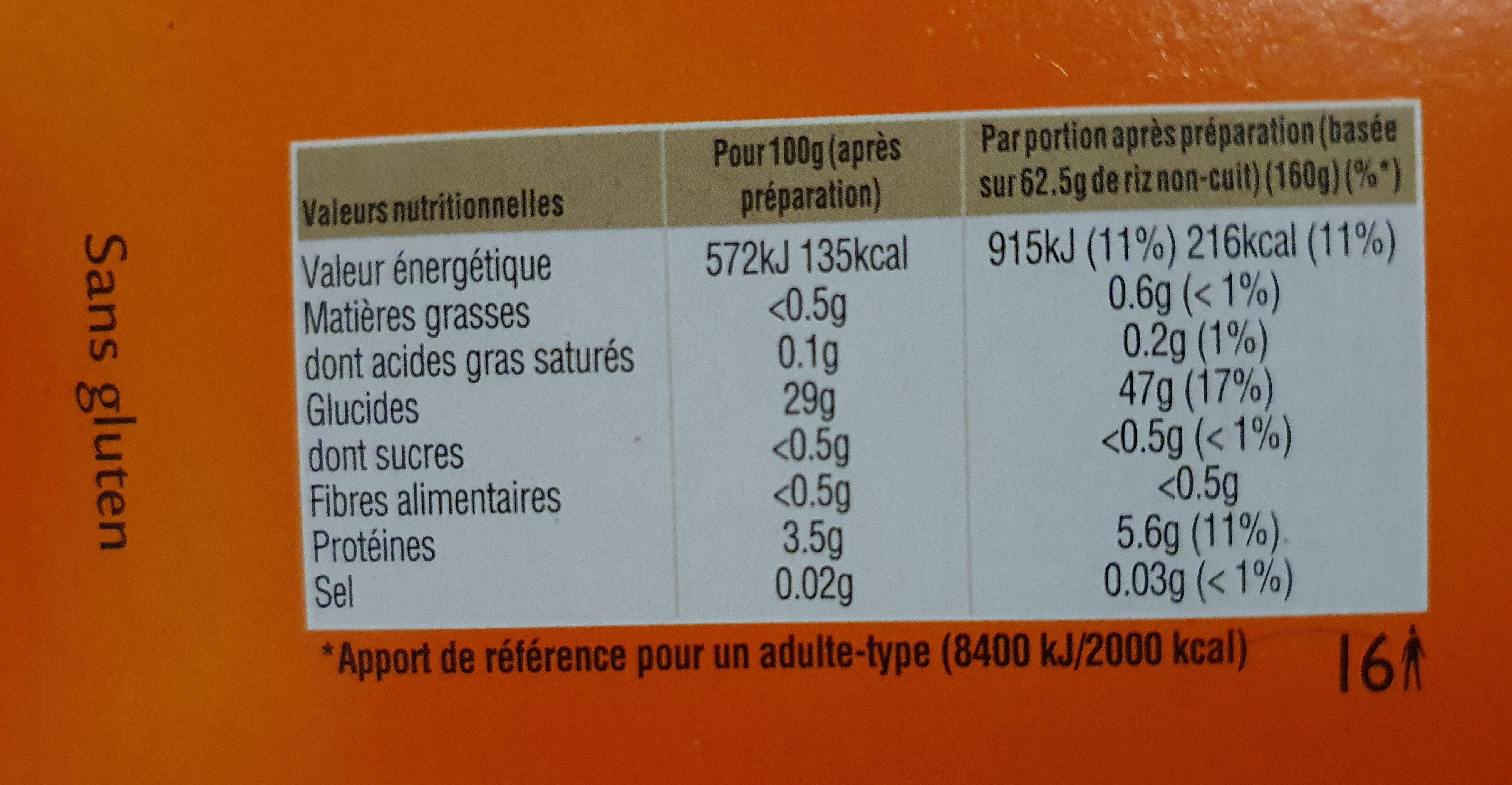 Riz basmati - Nutrition facts - en