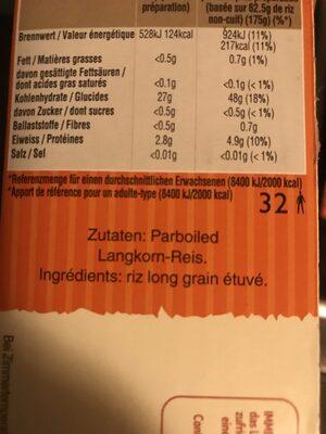 Uncle Ben's Long Grain Rice 2 kg - Ingrédients - fr