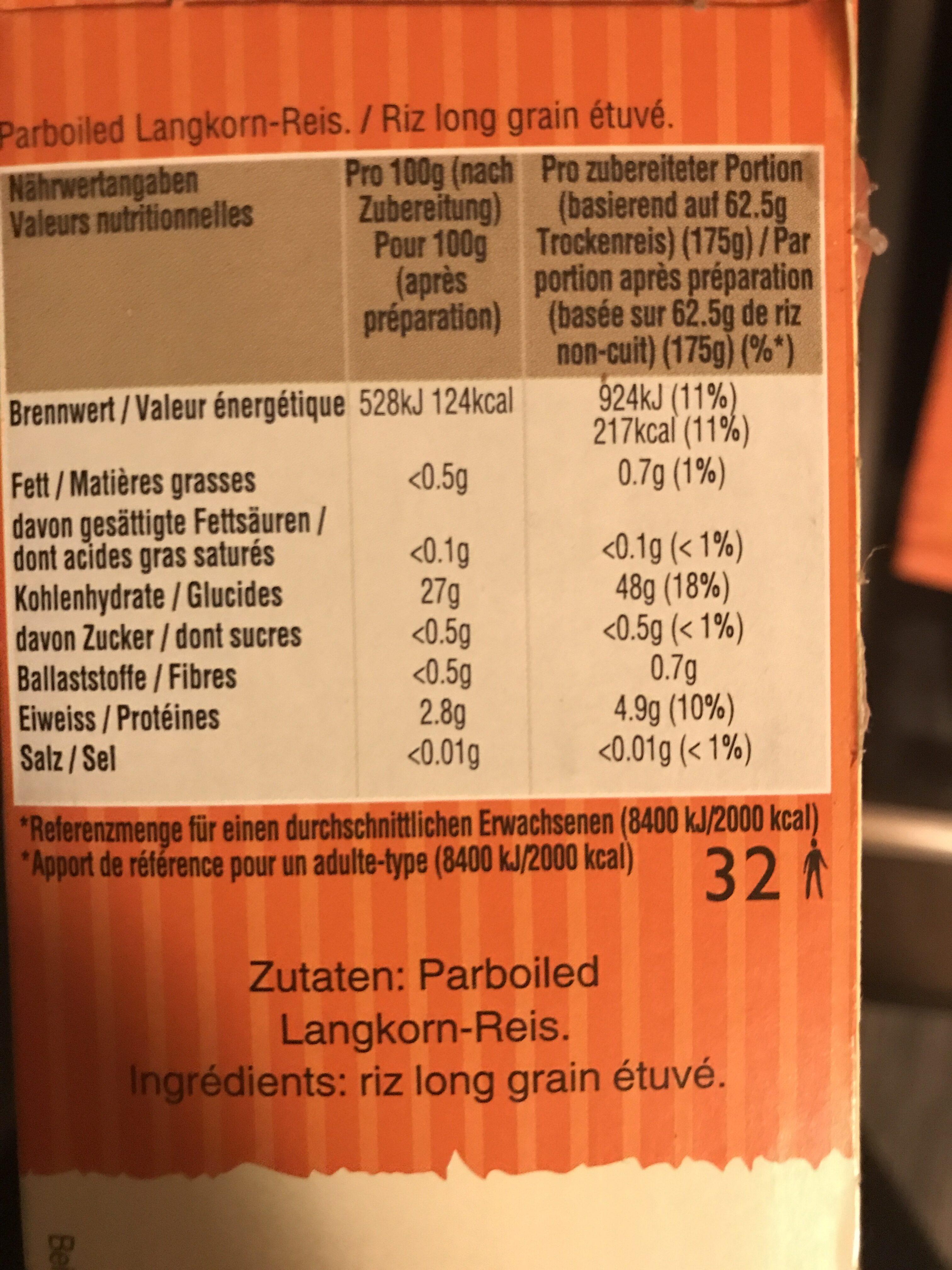 Uncle Ben's Long Grain Rice 2 kg - Informations nutritionnelles - fr