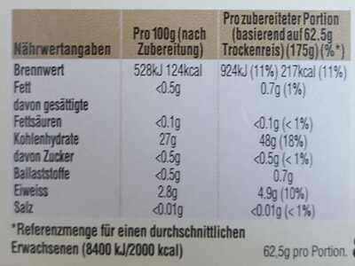 Original Langkorn Reis - Informations nutritionnelles - de