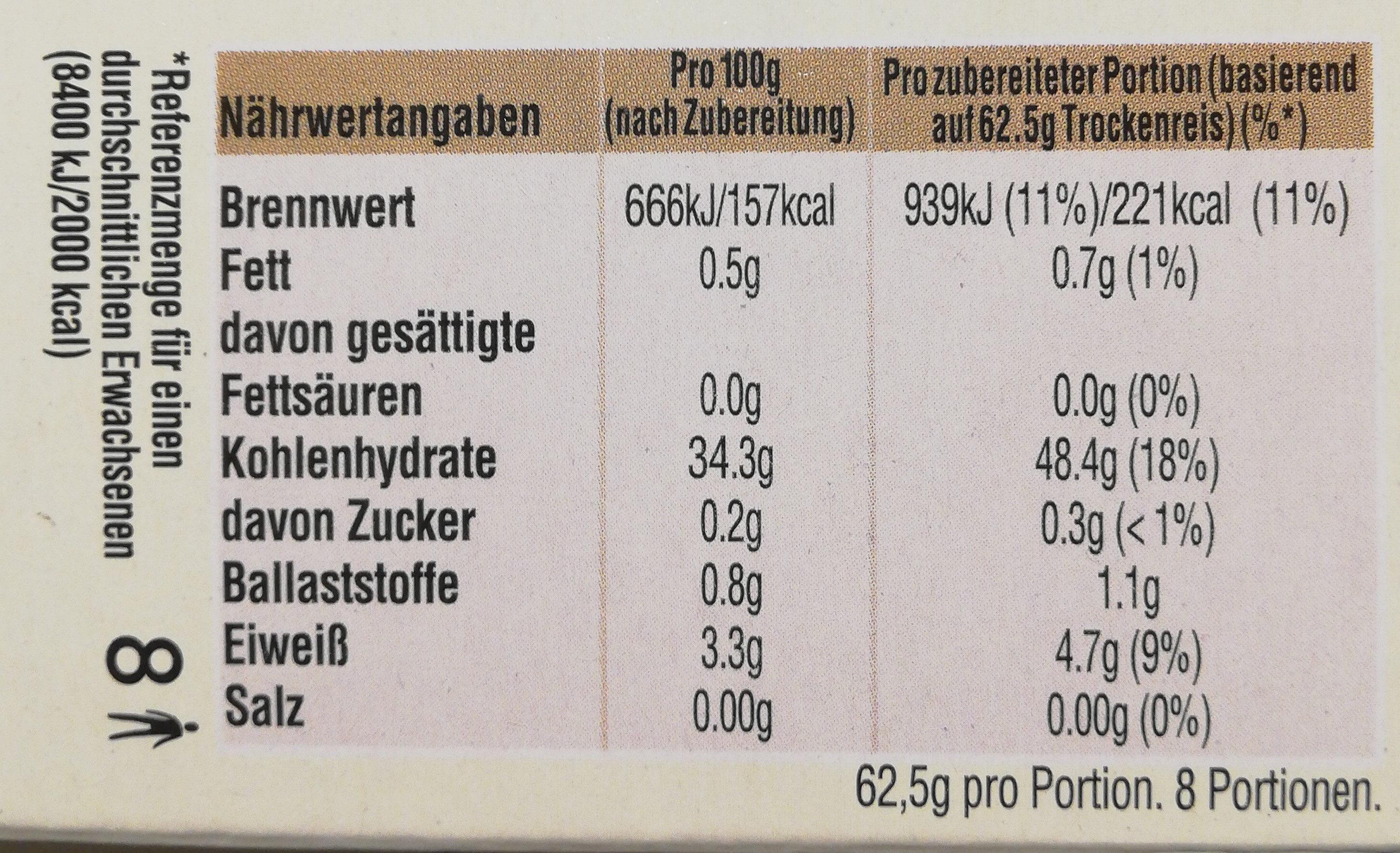 Kochbeutel Spitzen-Langkorn-Reis - Nährwertangaben