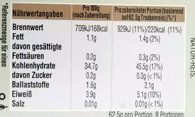 Kochbeutel Natur-Reis - Informació nutricional