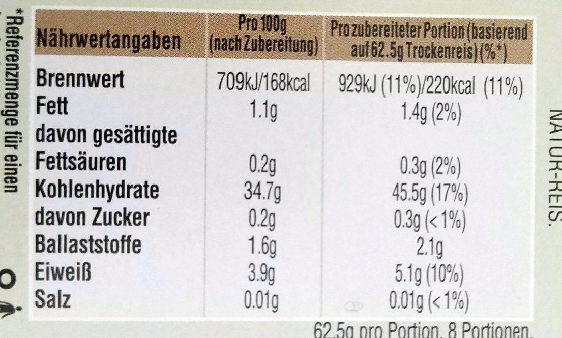 Kochbeutel Natur-Reis - Voedingswaarden