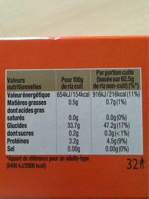Riz cuisson rapide Uncle Ben's  2 kg - Informations nutritionnelles