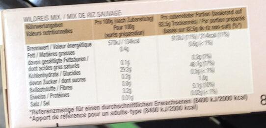 Reis, Wildreis Mix Kochbeutel - Nutrition facts - de