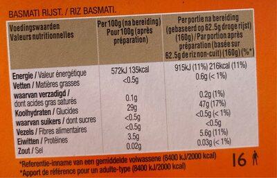 Riz Basmati - Voedingswaarden - fr