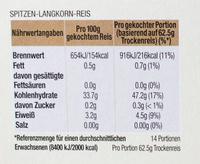 Riz long - Nährwertangaben
