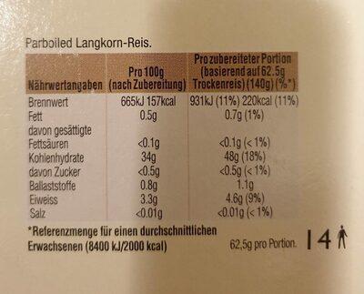 Riz long - Nutrition facts - de