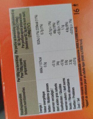 Riz Long Grain - Informations nutritionnelles - fr