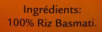 Riz Basmati - Ingredients - fr