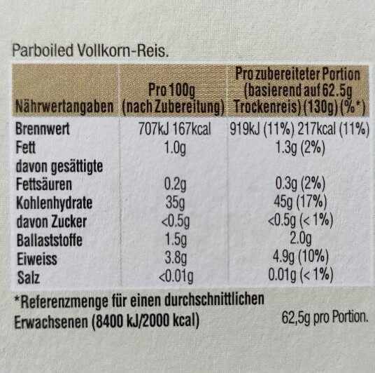 Reis Natur Kochbeutel - Ingrédients - de