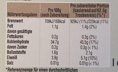 Reis Natur Kochbeutel - Informations nutritionnelles - de