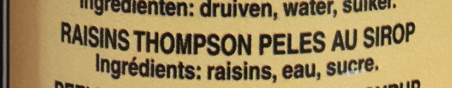 Raisins Thompson pelés au sirop - Ingrediënten - fr