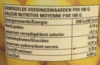 Raisins Thompson pelés au sirop - Voedingswaarden - fr