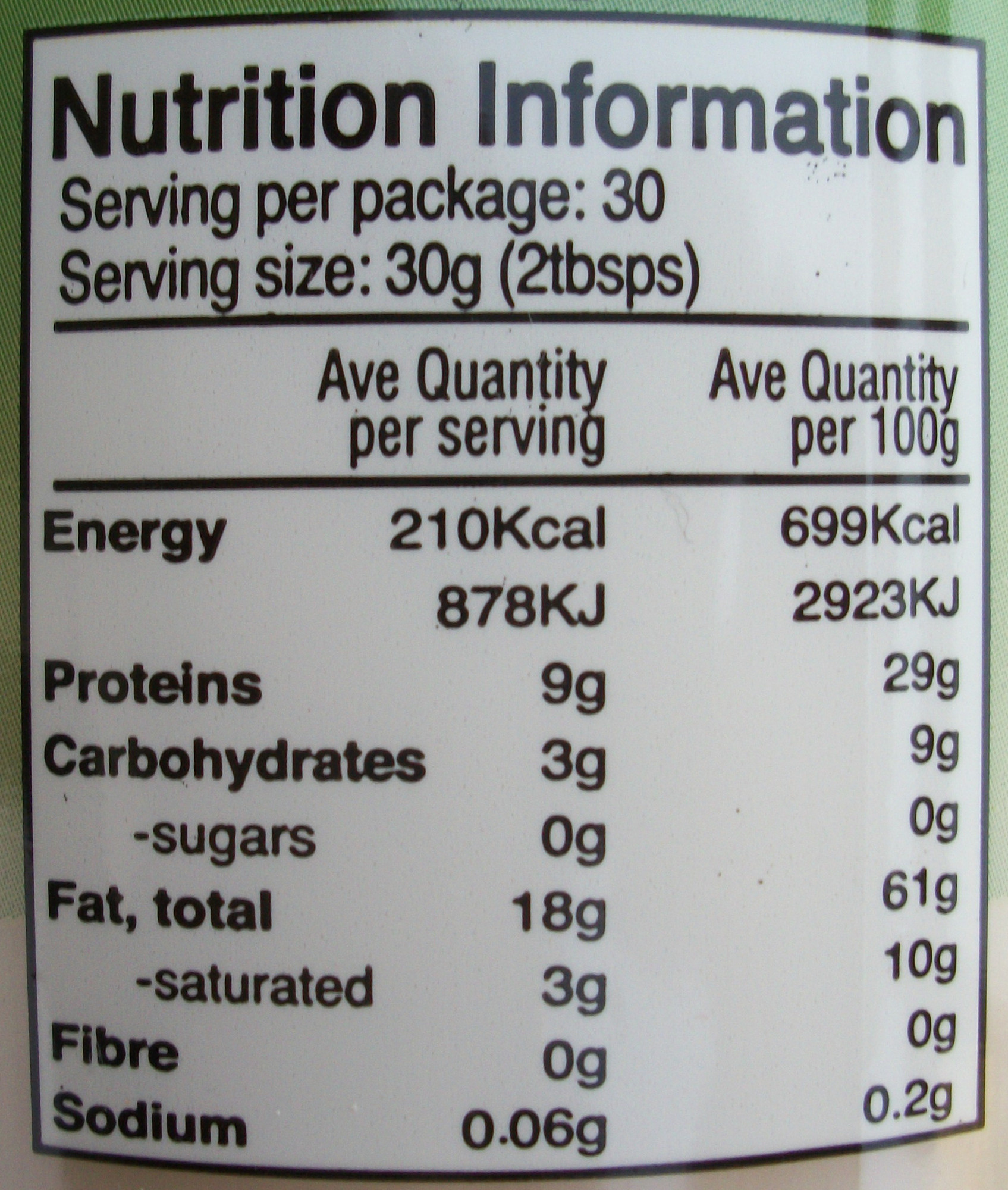 tahina - Nutrition facts - fr