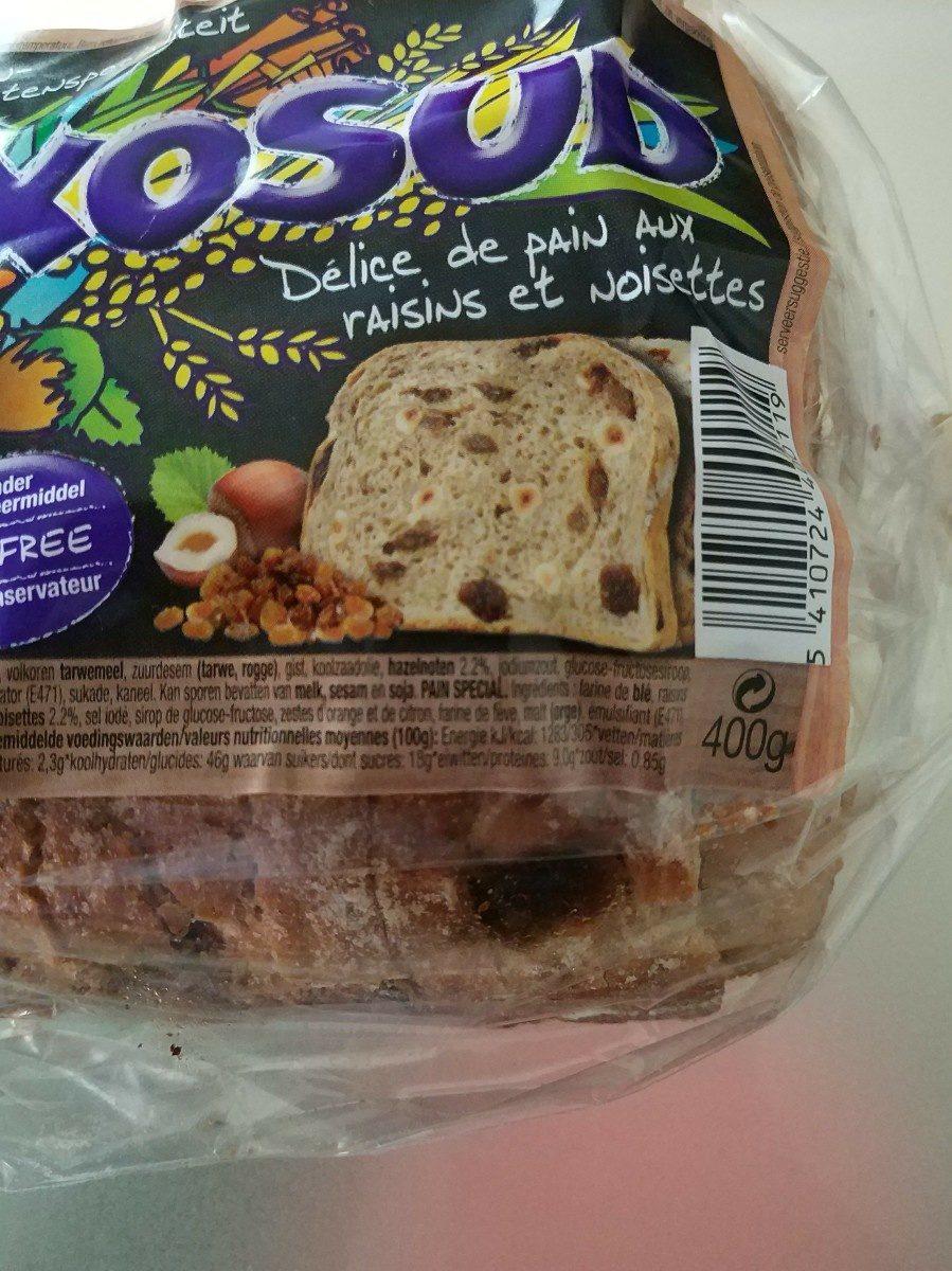 Délice de pain aux raisins et noisettes - Ingrediënten - fr
