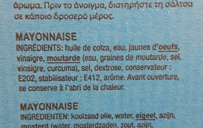 Mayonnaise Dose Stick X500 ! - Ingredients - fr