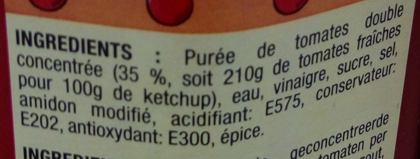 Tomato ketchup - Ingrédients