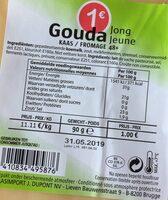 Gouda jeune fromage 48+ - Product - fr
