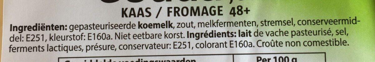 Gouda jeune fromage 48+ - Ingrediënten - fr