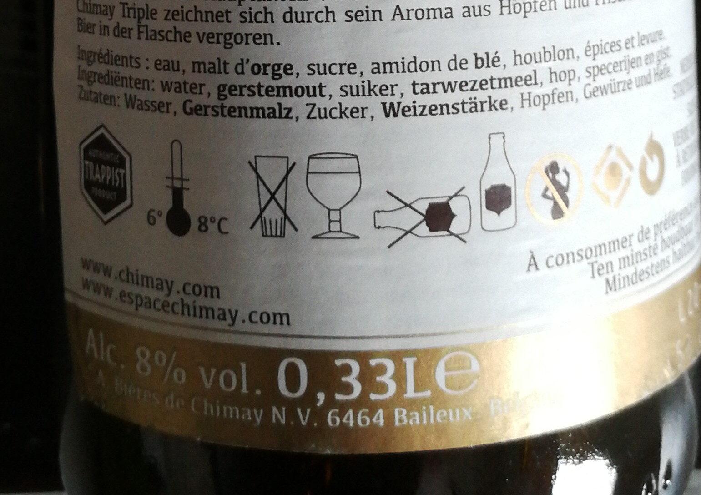 Chimay triple - Ingredients - fr