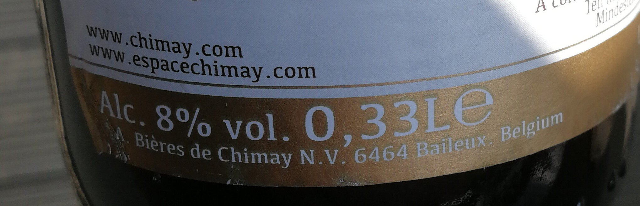 Chimay triple - Nutrition facts - fr