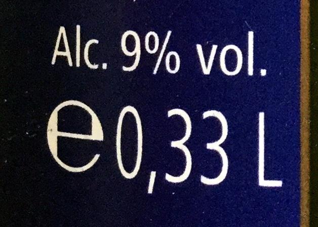 """Cerveza """"Chimay"""" Bleue (cosecha 2012) - Información nutricional"""