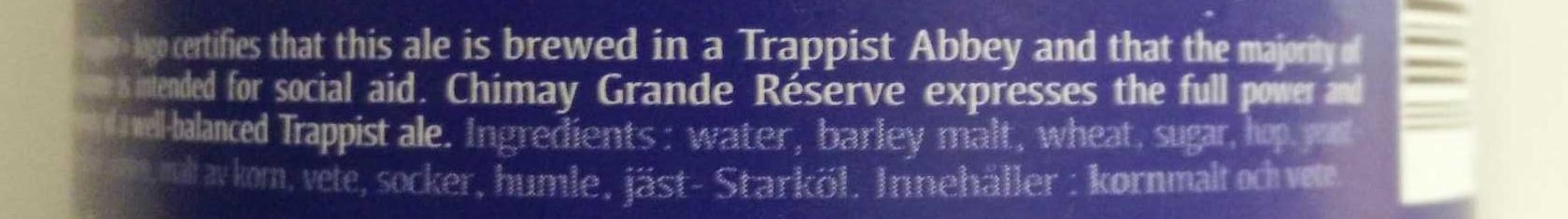 Chimay Bleu Grande Réserve - Ingredients