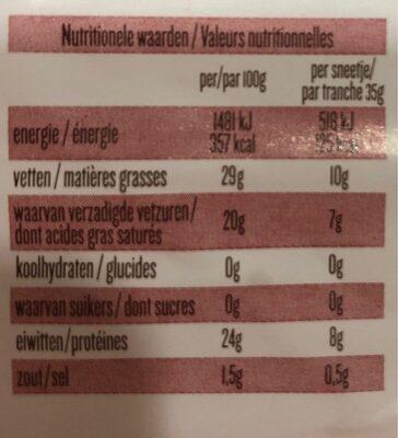 Passendale fruité - Informations nutritionnelles
