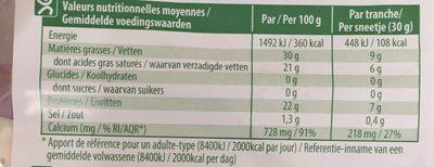 Chavroux Milde Scheiben - Informations nutritionnelles - fr