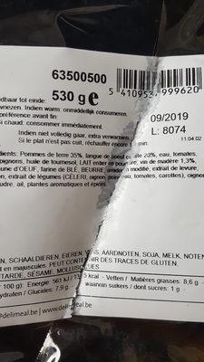 langue de boeuf sauce madere puree - Ingredients - fr