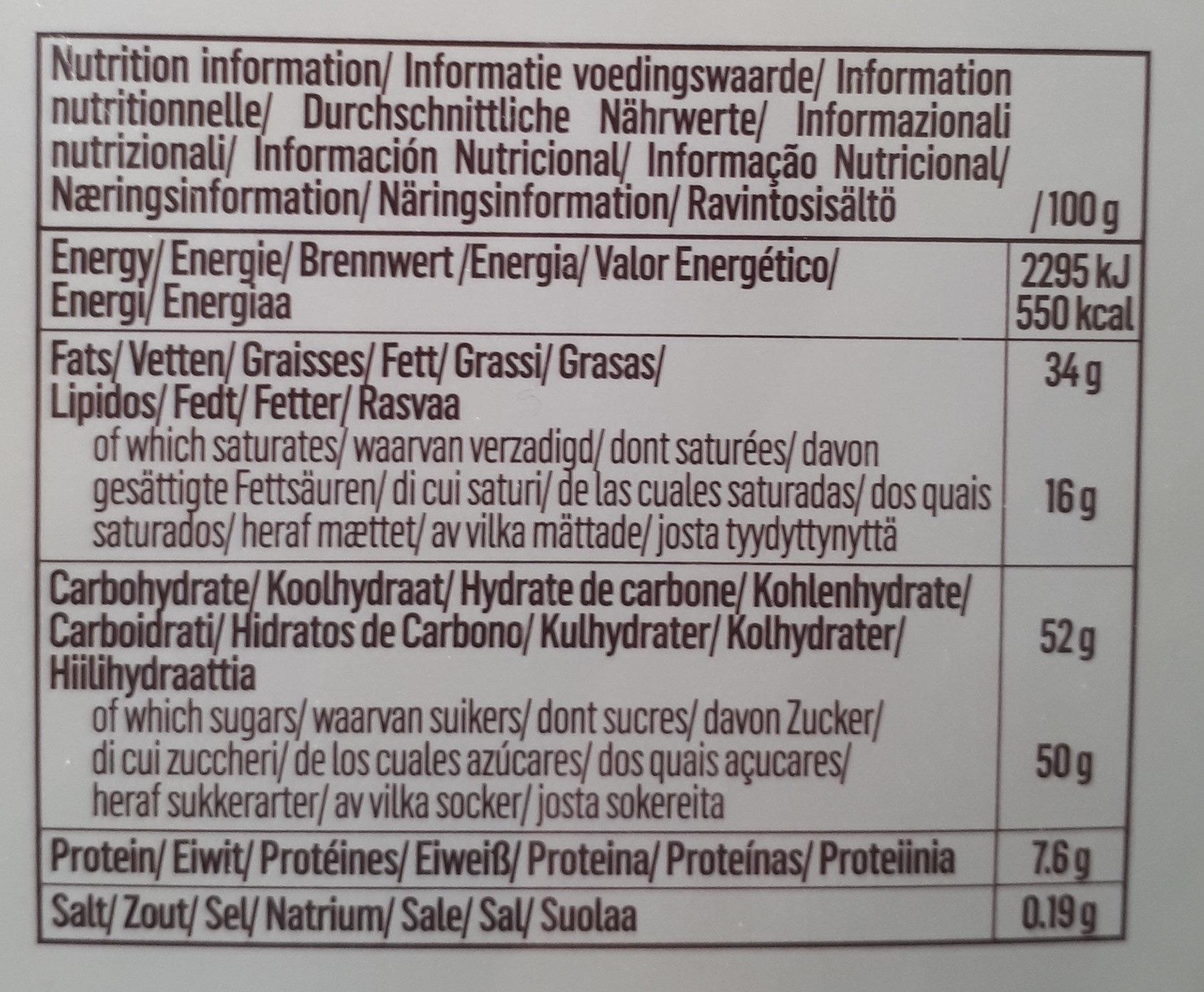Belgian Chocolat - Informations nutritionnelles